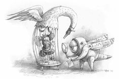 Shaun Tan 'Cage Bird and Obstetrician'