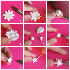 Collection of tutorials how to make sugarpaste or fondant flowers 1 Fondant Rose, Fondant Flowers, Fondant Baby, Buttercream Flowers, Purple Wedding Cakes, Wedding Cakes With Flowers, Cake Wedding, Gold Wedding, Cake Decorating Techniques
