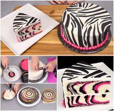 DIY Zebra Cake Design (Video): Pink and Black Zebra Cake, Rainbow Zebra Cake design and Recipe