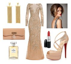 """""""I got that Red Lip Classic Thing That You Like"""" by misssiranxx ❤ liked on Polyvore featuring Zuhair Murad, Charlotte Russe, Christian Louboutin, Chanel and MAC Cosmetics"""