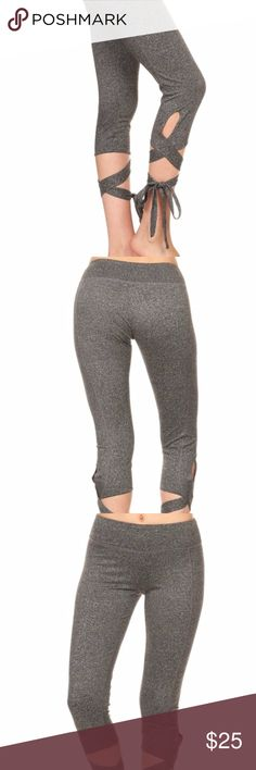 Grey tie-up, dancer-inspired leggings/yoga pants Just got a new shipment of these super soft tie up leggings/yoga pants in both black & grey (this listing is for the grey). Made of brushed poly/spandex. High waist. Capri length. Cross-stitch detailing. TTS. Great for yoga, dance, running, lounging or pair with a cute loose top for running about town. Super soft & comfy!! They sold out fast last time, so grab yours now! See other listing if you prefer black. Pants Leggings
