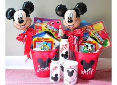 DIY Road to Disney gift baskets  Like the idea of the personalized water bottles