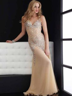 2014 New Style A-line Strapless Chiffon Champagne Plus Size Prom Dresses/Evening Dress With Rhinestone #FC031