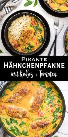 Pikante Hähnchenpfanne mit Kokos & Tomaten Rezept & Elle Republic & Savory Chicken Pan with Coconut and Tomato Recipe & Elle Republic & pan The post Savory Chicken Pan with Coconut and Tomato Recipe Spicy Recipes, Pork Recipes, Cooking Recipes, Chicken Recipes For Kids, Healthy Chicken Recipes, Kids Meals, Easy Meals, Meat Appetizers, Balsamic Chicken