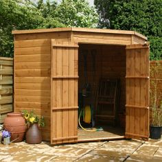 7 x 7 Waltons Windowless Tongue and Groove Wooden Corner Shed on Walton Garden Buildings £420