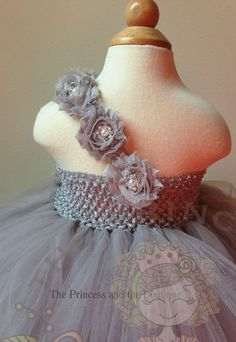Gray flower girl dress with gray chiffon by Theprincessandthebou