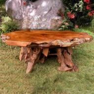 Amish Rustic Hickory Dining Table 48 Quot Round Tree Stump