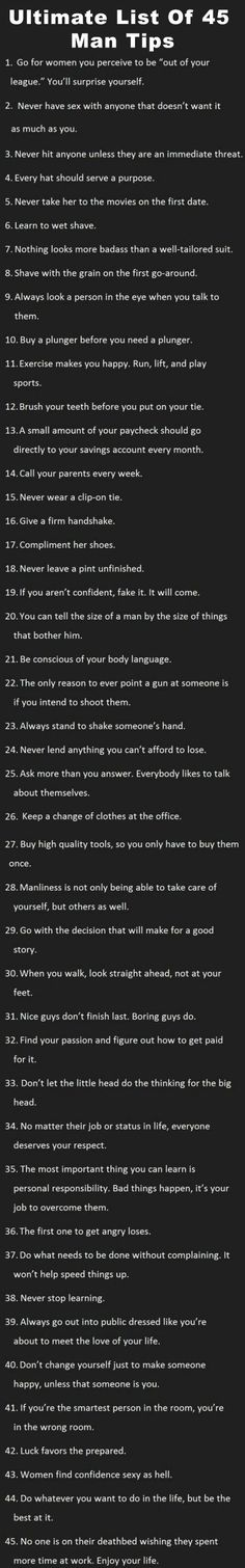 Ultimate-List-Of-45-Man-Tips (I'm a woman, and even I'm impressed with this list!):