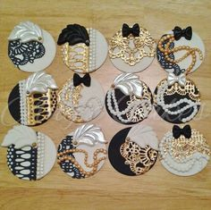 Great Gatsby cupcake toppers by ANGIECAKEScali on Etsy