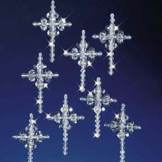 Crystal Crosses Christmas Ornament Bead Kit The Beadery 5536