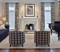 Living Room Blinds Ideas for the Comfy yet Fascinating Living Room : Amazing Image Of Living Room Decoration Using Blue Tartan Pattern Living Room Armchair Inclluding Navy Blue Cloth Living Room Sofa And Black White Flower Pattern Living Room Blind Curtain