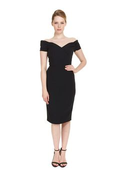 ec4bb1164ba The Fatale Luxe Crepe Pencil Dress is a Pretty Dress Company signature  design featuring our distinctive off the shoulder boned and lined bodice  with ...