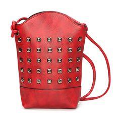 Sale 16% (12.49$) - Women Rivet Bucket Bag 6.5inch Phone Bag Portable Shoulder Bag Crossbody Bags
