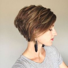 Balayage Short Hairstyle - Stacked Short Hair Cuts