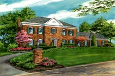11 x14 watercolor custom house portrait of large brick residence in Chesterfield, Missouri. Created by Custom House Portraits by Richelle Flecke