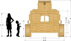 front isometric view of fire truck playhouse plan