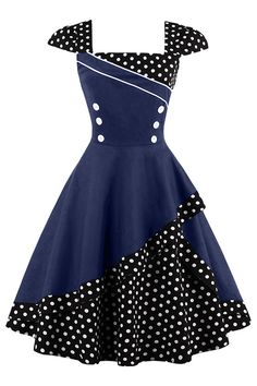 Complete your retro style with our Atomic Black and Navy Rockabilly Cocktail Dress. https://atomicjaneclothing.com/products/atomic-black-and-navy-rockabilly-cocktail-dress