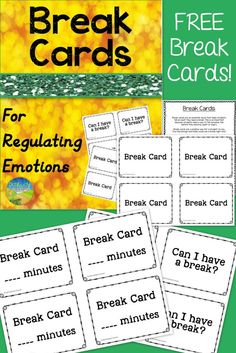 Free break cards for students who need a break during the school day! Great resource for students with disabilities, including ADHD, ODD, and autism.