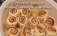 Mini-Cinnamon Rolls (from Crescent Dough) via www.TheKimSixFix.com