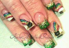 Acrylic nail art, 3D rainbows, pot of gold