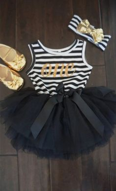 Black and white first bithrday outfit