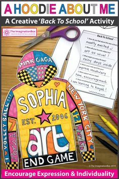 All About Me Art - Hoodie Design Activity All About Me Activities, First Day Of School Activities, School Resources, Craft Activities For Kids, Writing Activities, Teaching Resources, Back To School Art, Middle School, All About Me Art