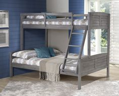 You and your little ones will love the cabin-chic charm of our Bunk Bed (Twin over Full) in Antique Grey. Rustic yet refreshingly modern, this twin-over-full bunk bed features shutter headboards and f