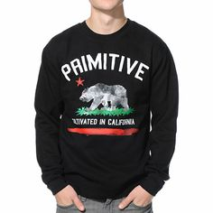 Send your style to blazing new heights in a fleece lined Primitive Cultivated Paint black crew neck sweatshirt.