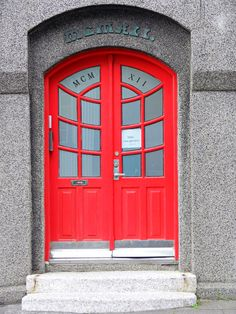Red Doors in Reykjavik, Iceland