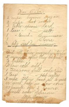 War Cake - WWII recipe for cake without dairy and eggs due to rationing