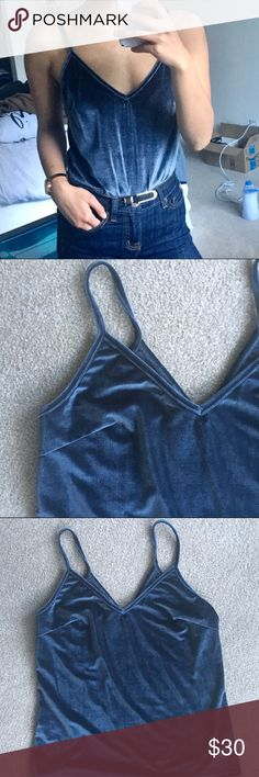 Dusty/slate blue velvet cami tank Reformation style, but from a boutique. Fits size small to medium (selling because I'm an XS and i want something a little tighter). Worn just to try on for picture. Reformation Tops Tank Tops