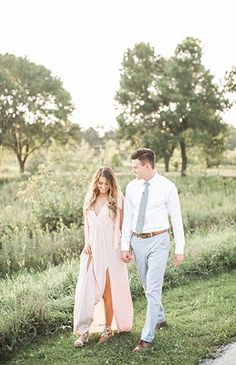 Light & Airy Engagement Photos - Inspired By This Engagement Photo Outfits, Engagement Photo Inspiration, Engagement Couple, Engagement Session, Dresses For Engagement Pictures, Casual Engagement Outfit, Vineyard Engagement Photos, Formal Engagement Photos, Country Engagement