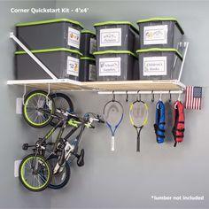 Easy Garage Storage, Garage Storage Solutions, Shelving Solutions, Garage Shelving, Garage Shelf, Storage Ideas, Organization Ideas, Garage Hanging Storage, Garage Ceiling Storage