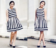 Sinequanone Stripe Dress, Zara Black Heels