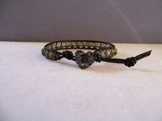 Black and Silver Crystal Heart and Cathedral Bead Wrap Bracelet