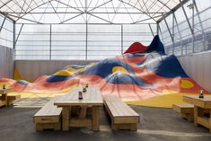 Appelle Moi Papa Creates Colorful Playground Installation For Pop-up French Restaurant — urdesignmag Playground Safety, Playground Design, Pool Bar, Play Spaces, Learning Spaces, Parc A Theme, French Restaurants, Chicago Restaurants, Types Of Painting
