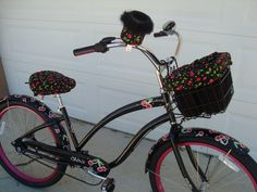 Custom Cruiser Covers - Black Cherry Print- Reversible/Adjustable Basket Liner, Seat Cover, and Cup Holder by CruzieSuzies on Etsy https://www.etsy.com/listing/83568612/custom-cruiser-covers-black-cherry-print