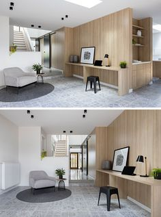 In this modern rec room (also known as a rumpus room in Australia), slim built-in desks line the wall of a central pod, while a light grey decorative tile covers the floor.
