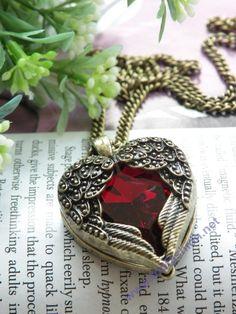 Pretty retro copper red crystal heart shape