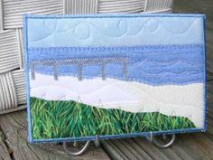 Pier Walk Seascape Fabric Postcard Art Quilt