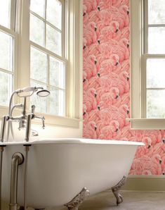 flamingo wallpaper, seen in eastenders. Pretty sure the flamingo gifts head office needs this! Ideas Vintage, Palm Springs Style, Sweet Home, Bathroom Wallpaper, Crazy Wallpaper, Interior Wallpaper, Vinyl Wallpaper, Deco Design, Beautiful Bathrooms