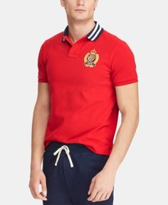 3280e7b8ce38 Polo Ralph Lauren Men Custom Slim Fit Crest Mesh Polo Shirt