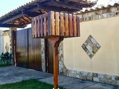 Lixeiras calçada de madeira Pergola, Woodworking, Iron, Outdoor Structures, Simple, Creative, Diy, Furniture, Home Decor