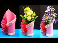 How to make a paper vase at home - DIY Simple paper craft - Paper flower vase crafts - YouTube