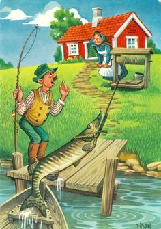 L C (Lars Carlsson) Funny Fishing Pictures, Funny Fishing Shirts, Cute Pictures, Fish Template, Baumgarten, Cartoon Art Styles, Vintage Fishing, Country Art, Fish Art