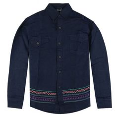 Flaunt the beauty of the tribe with Stussy! Stussy Tribal Embroidery Button Up Shirt Indigo Clothing, Clothing And Textile, Denim Button Up, Button Up Shirts, Stussy, Street Wear, Street Style, Mens Fashion, Embroidery