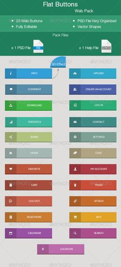 Flat Buttons - Web Pack - Buttons Web Elements