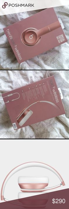 Beats Solo2 Wireless Headphones in Rose Gold UNUSED/UNOPENED (still in shrink-wrap with price sticker) Beats Solo2 Wireless Headphones in SPECIAL EDITION rose gold! 2X Best of Year winning headphones with Bluetooth capability, perfect acoustics, rechargeable battery and microphone - includes carrying case, RemoteTalk cable, USB 2.0 charging cable, quick start guide and warranty card in box. 4.3/5 rating on BeatsByDre.com! Beats by Dre Other