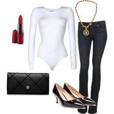 Keep it simple yet elegant with a Wolford bodysuit and red lips!