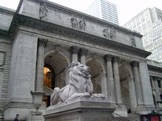 """NYC Public Library Front"" by melanzane1013 on 27 March 2007 ~ NYC Public Library lion  